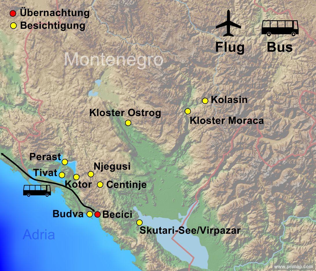 Karte Montenegro 2021